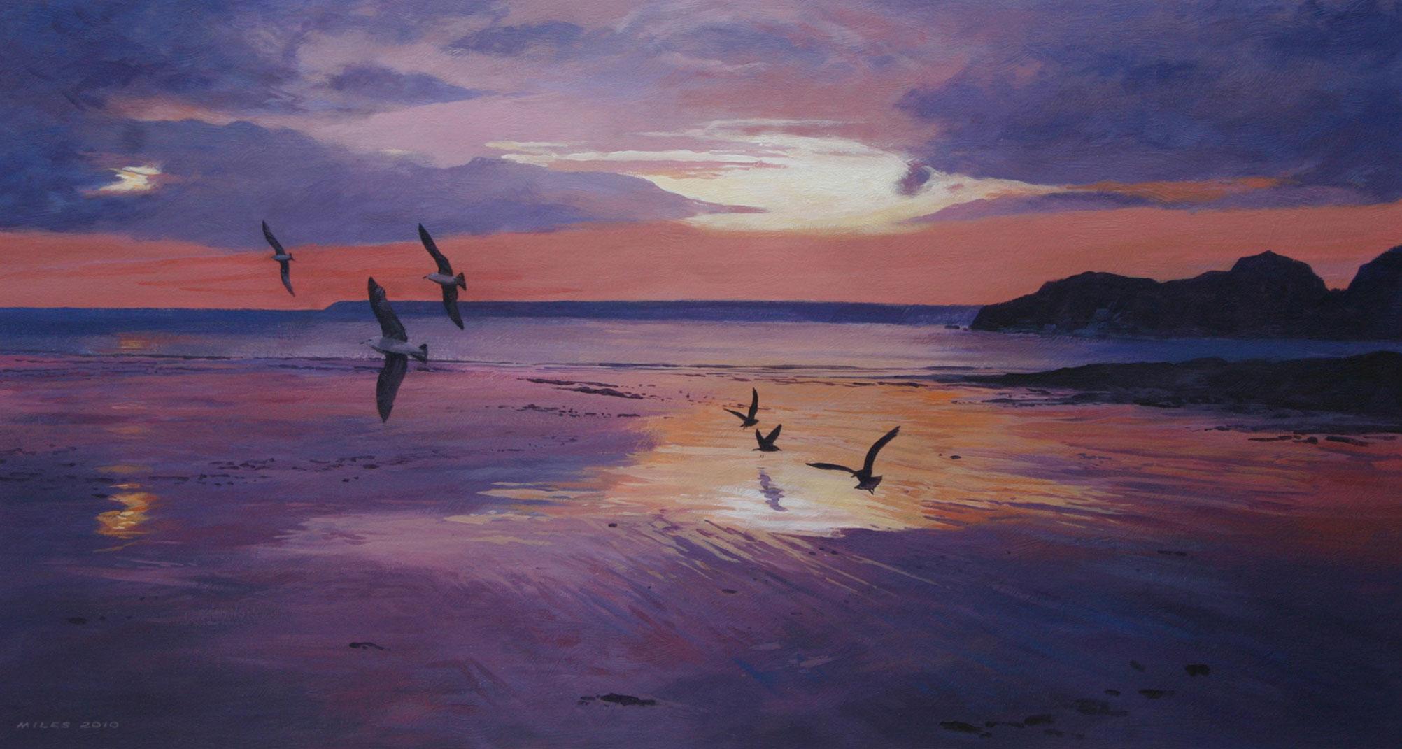 Gerry_Miles_devonpaint_devon_Sunset_on_Harbour_Beach.jpg