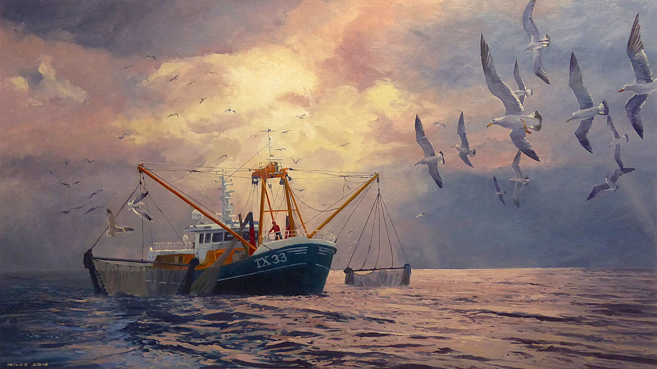 Dutch-Landscape-Painting.-Gerry-Miles.-Trawler-TX33-Hauling-in-the-Nets..jpg