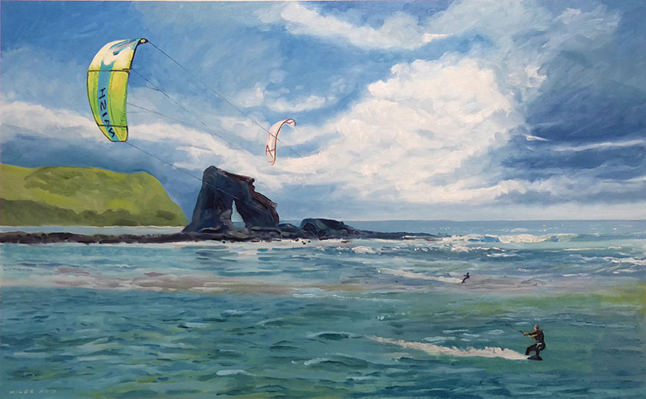Devon-Landscape-Painting-Gerry-Miles-Kite-surfing-at-Thurlestone.jpg