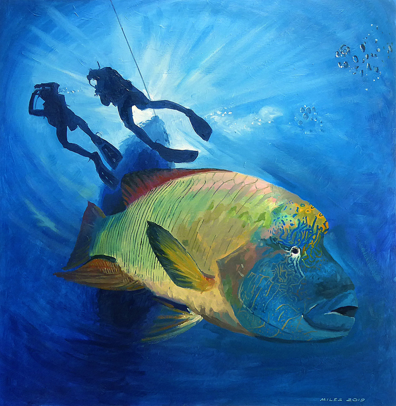 Underwater-Painting-Gerry-Miles-Safety-stop-with-Napoleon-Fish.jpg