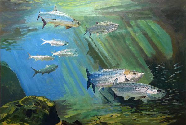 Underwater painting of Tarpon at Chubb Hole by Gerry Miles