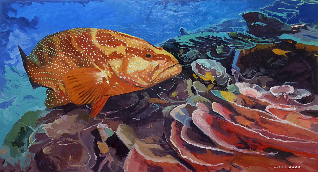Underwater painting of a red spotted sea bass cruising a coral reef by Gerry Miles