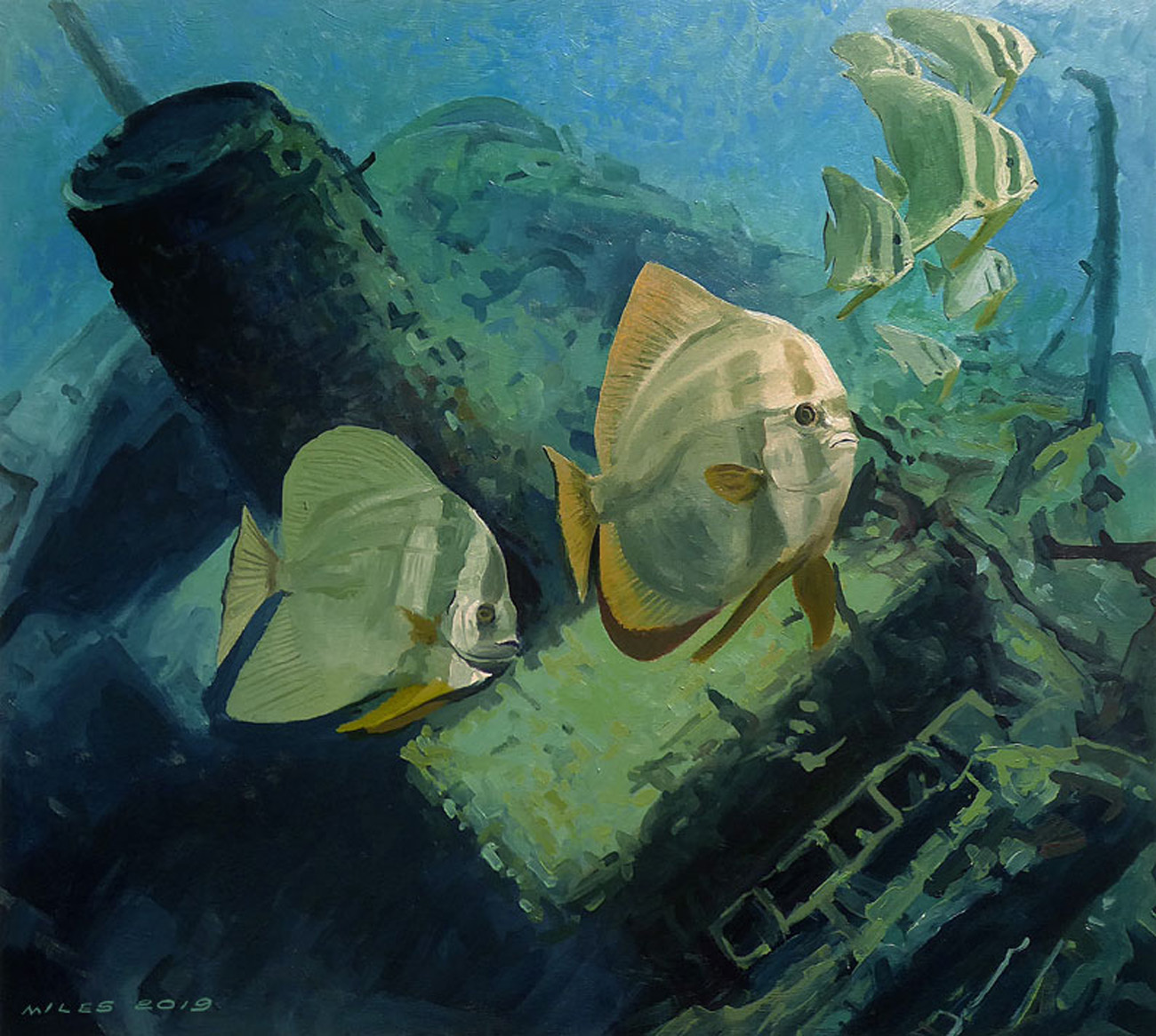 Underwater painting of spadefish Spade fishes above a shipwreck by Gerry Miles